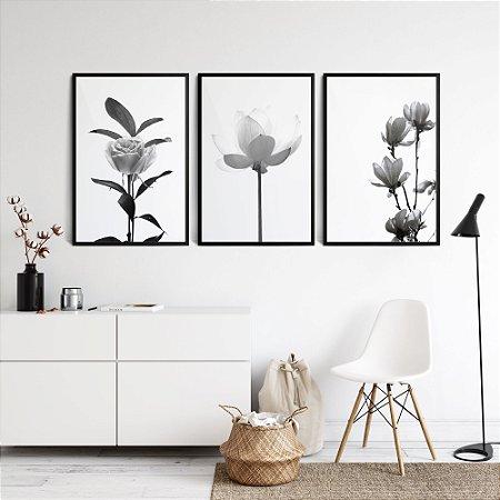 Conjunto Quadros Flores Botânico Preto e Branco