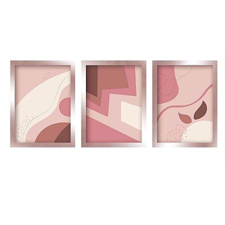Kit 3 Quadros Abstrato Moderno Rose Gold