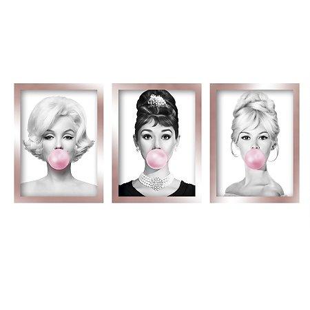 Quadros Marilyn Monroe Audrey Hepburn Brigitte Rose Gold