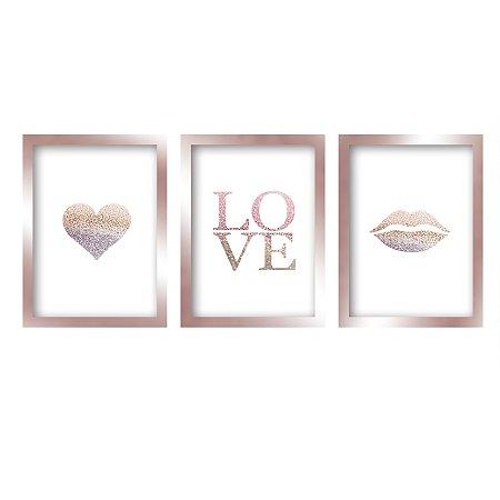 Quadros Decorativo Love Moderno Rose Gold
