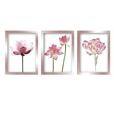 Kit 3 Quadros Flores Moderno Rose Gold