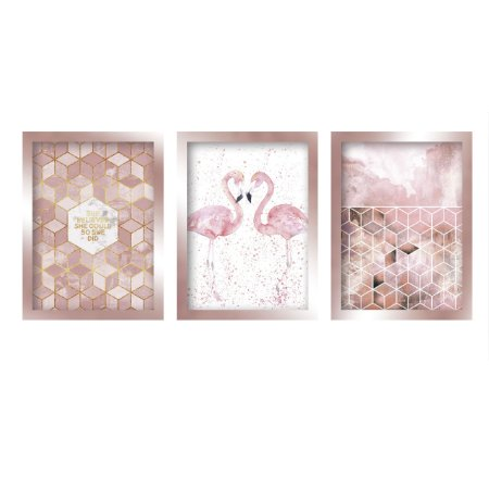 Quadros Decorativos Flamingo Mosaico Moderno Moldura Rose Gold