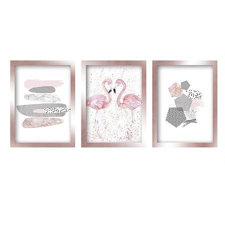 Quadros Decorativo Flamingo Moldura Rose Gold