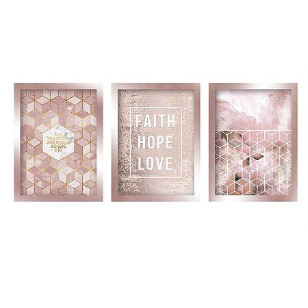 Quadros Decorativo Faith Love Hope Mosaico Rose Gold