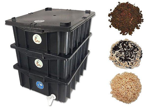 Kit Completo - Composteira Doméstica Minhocário - 15 Litros (1-2 Pessoas) + Minhoca + Serragem + substrato