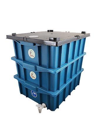 Composteira Doméstica Minhocário Azul - 15 L (1-2 Pessoas)