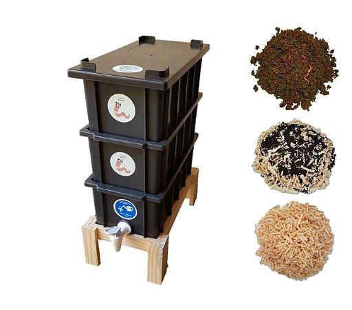 Kit Completo - Mini Composteira Doméstica Minhocário 4 L + Suporte Pé