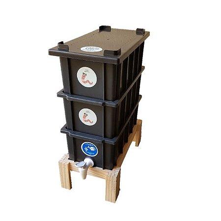 Mini Composteira Doméstica Minhocário 4 Litros + Suporte Pé