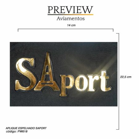 APLIQUE ESPELHADO SAPORT - TM 14 X 22,5 CM -