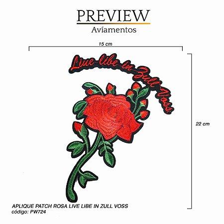 APLIQUE PATCH TERMOCOLANTE ROSA LIVE IN ZULL VOSS - 15 x 22cm  - PACTE C/ 5 UNID - PW724
