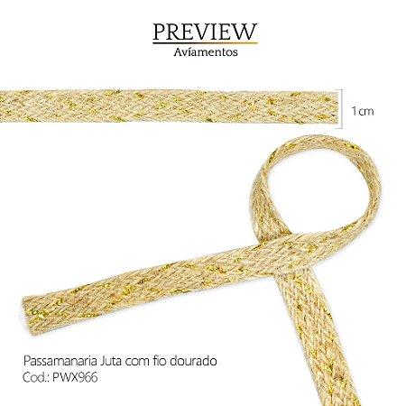 PASSAMANARIA JUTA COM FIO LUREX DOURADO/ LARG. 1CM