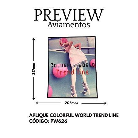APLIQUE QUADRADO COLORFUL WORLD TREND LINE LARG APROX: 250MMX220