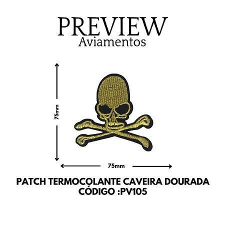 PATCH TERMOCOLANTE CAVEIRA DOURADA LARG APROX: 75MMX75MM