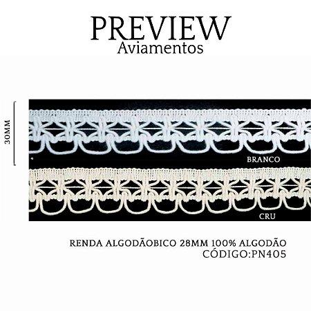 RENDA ALGODÃO BICO LARG.28MM PCT.30MTS COMP.100%ALGODÃO