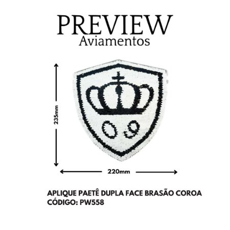 APLIQUE DE PAITE DE COROA DUPLA FACE LARG APROX 235MMX220