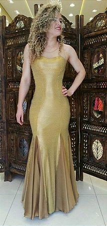 Vestido Luxo Festa Dourado Detalhes Paête Casamento Batizado