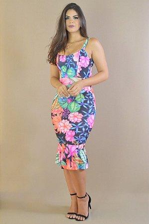 Lindo Vestido Midi Estampa Digitalizada Exclusiva