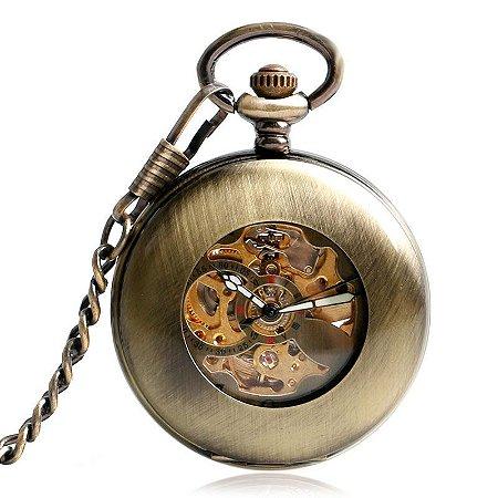 Relógio de Bolso Esqueleto Automático ys-2010