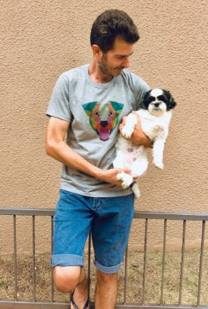 Blusa Baby Look e T-shirt Cão Geométrico UNISSEX