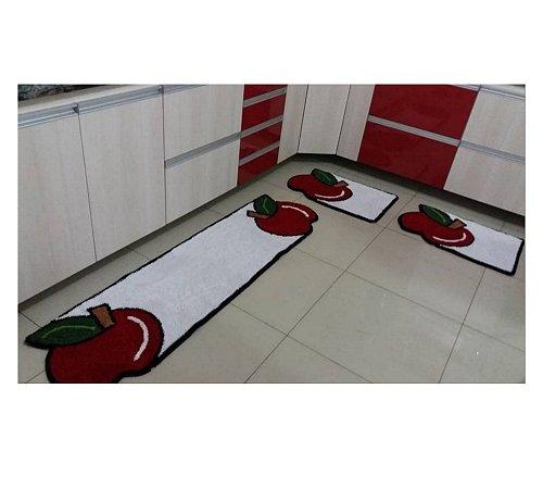 Jogo De Cozinha Modelo Maçã Com Passadeira Longa Kit Com 3 Peças