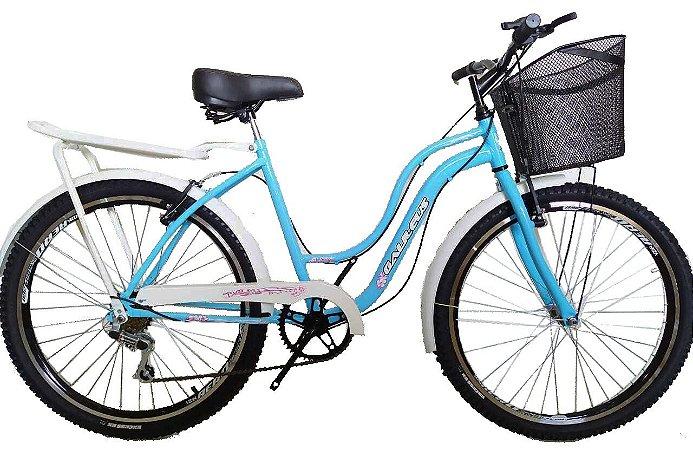 Bicicleta aro 26 retro classic Galileus 6 marchas com aro aero e banco com molas