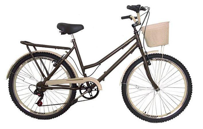 Bicicleta aro 26 retrô classic Galileus 6 marchas com selin de  molas