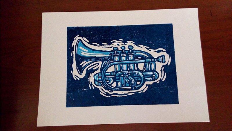 Linoleogravura - Trompete