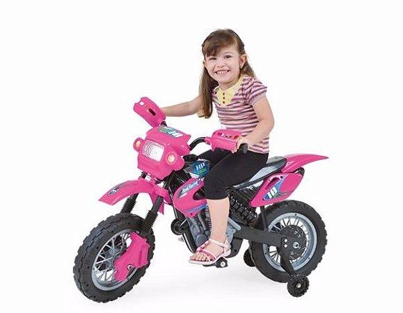 Moto Eletrica Motocross Rosa Home Play