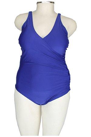 Maiô Plus Size Azul Trançado lateral