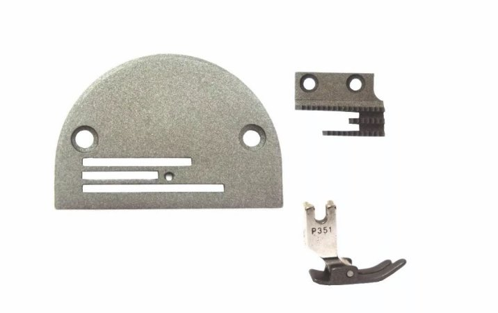Kit Para Máquina Reta Industrial Chapa Dente Calcador 3 Carreiras Teflonado