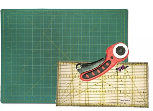 Kit Para Costura Base De Corte + Régua + Cortador Patchwork