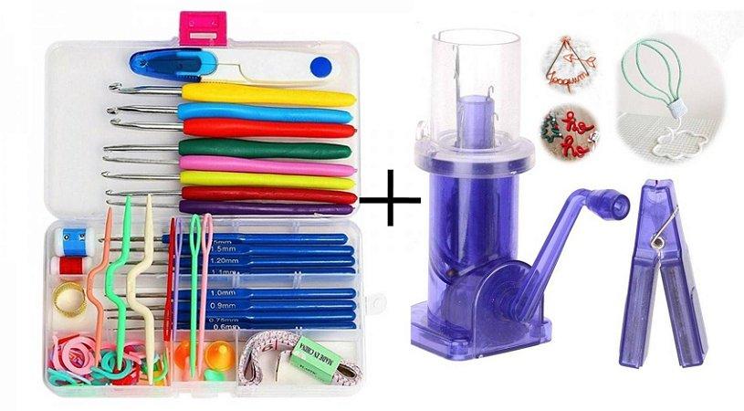 Maquina Tricotin I-cord + kit 16 Agulhas Crochê E Acessórios