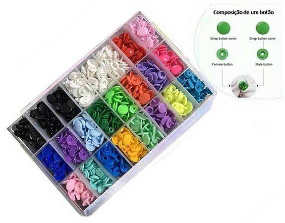 Botão de pressão 20 cores com caixa organizadora
