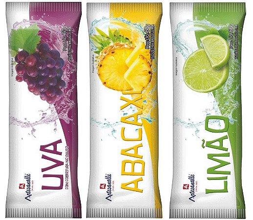 Picolés sabores Abacaxi, Limão ou Uva