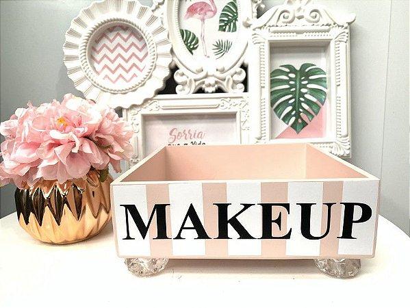 Bandeja Makeup Rosa blush com pé de acrílico