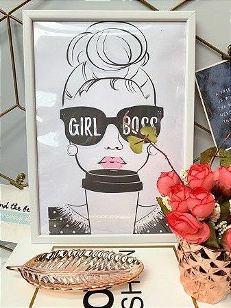 Quadro Girl Boss Moldura Branca