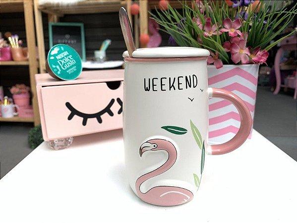 Caneca Flamingo Weekend