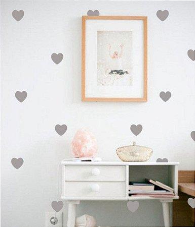 Adesivo Corações Cinza (60 Unidades)