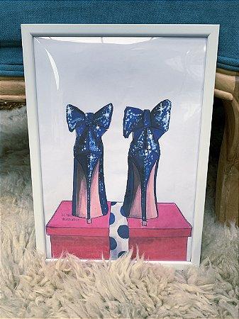 Quadro Sapato Azul Moldura Branca