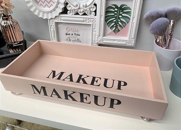 Bandeja Retangular Makeup Rosa Blush com pé acrílico