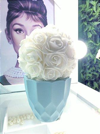 Cachepô Diamante Azul + flor