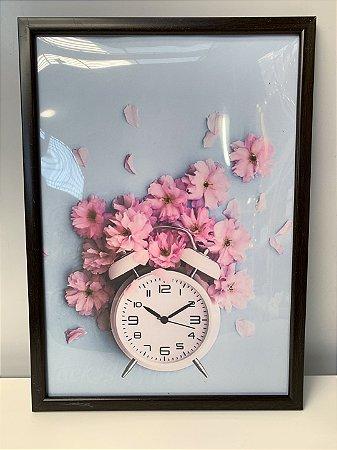 Quadro Relógio e Flores  Moldura Preta