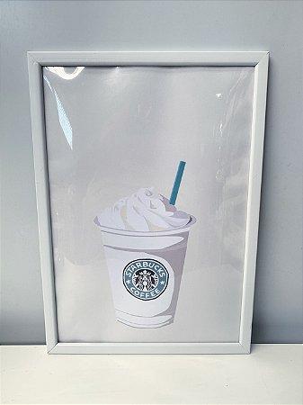 Quadro Café  Moldura Branca