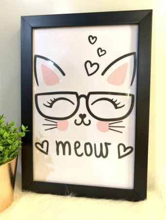 Quadro Meow  Moldura Preta