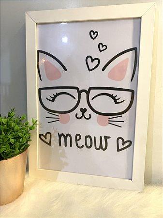 Quadro Meow  Moldura Branca