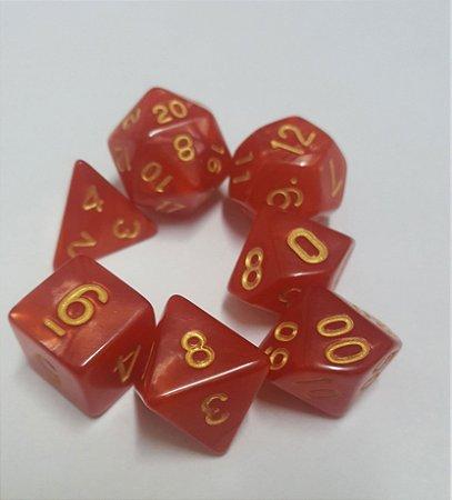 Kit Dados RPG - Vermelho e Dourado Perolado