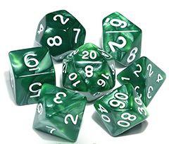 Kit Dados RPG - Verde e Branco Perolado