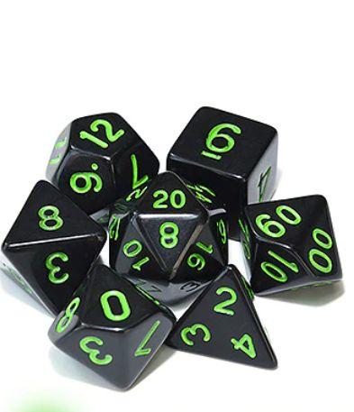 Kit Dados RPG - Preto e Verde Liso