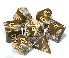 Kit Dados RPG - Marrom e Dourado Liso