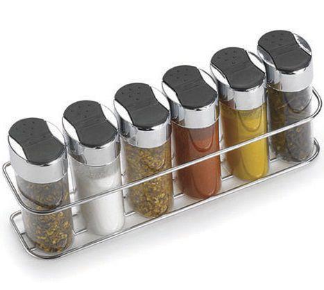 Porta condimentos com suporte e 6 potes em acrílico